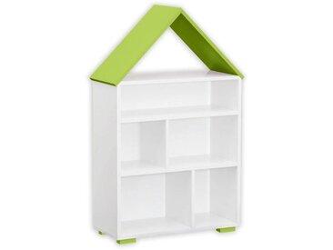 Kinderzimmer - Bücherregal Daniel 01, Farbe: Weiß / Grün - 117 x 83 x 30 cm (H x B x T)