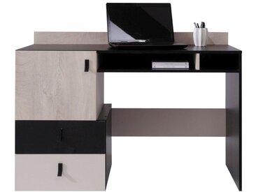 Jugendzimmer - Schreibtisch Aalst 09, Farbe: Eiche / Creme / Schwarz - Abmessungen: 86 x 125 x 55 cm (H x B x T)