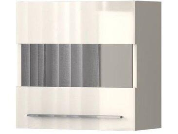Hängevitrine Garim 45, Farbe: Beige Hochglanz - 57 x 60 x 29 cm (H x B x T)