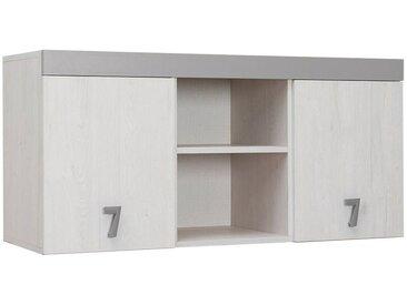 Kinderzimmer - Hängeschrank Luis 15, Farbe: Eiche Weiß / Grau - 58 x 120 x 42 cm (H x B x T)