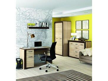 Büro Komplett - Set B Nogales, 4-teilig, Farbe: Sonoma Eiche hell / dunkel