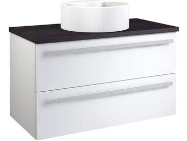 Waschtischunterschrank Bidar 57, Farbe: Weiß glänzend / Eiche Schwarz – 53 x 90 x 46 cm (H x B x T)