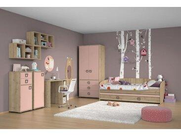 Kinderzimmer Komplett - Set U Benjamin, 8-teilig, Farbe: Buche / Rosa