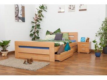 Einzelbett / Funktionsbett Easy Premium Line K6 inkl. 4 Schubladen und 2 Abdeckblenden 140 x 200 cm Buche Vollholz massiv Natur