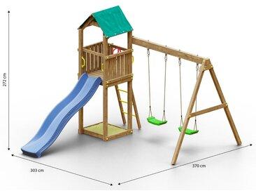 Kinderspielturm / Spielanlage inkl.  Doppelschaukel, Wellenrutsche, und Sandkasten FSC®