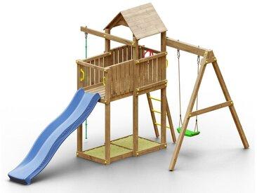Spielturm K8 inkl. Wellenrutsche, Einzelschaukel, 2 Sandkästen, Terrasse, Kletterseil und Holzdach FSC®