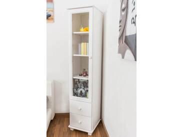Landhaus-Vitrine, Kiefer Massivholz, Farbe: Weiß