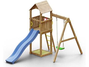 Spielturm K9 inkl. Wellenrutsche, Einzelschaukel, Sandkasten und Holzdach FSC®