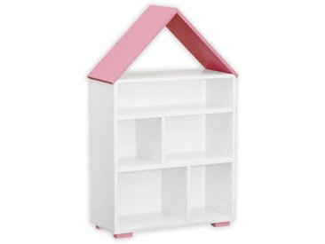 Kinderzimmer - Bücherregal Daniel 01, Farbe: Weiß / Rosa - 117 x 83 x 30 cm (H x B x T)