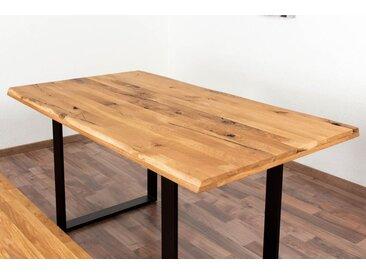 Esstisch Wooden Nature 413 Eiche massiv geölt, Tischplatte rustikal - 160 x 90 cm (B x T)