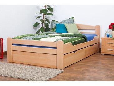 Einzelbett / Gästebett Easy Premium Line K4 inkl. 2 Schubladen und 1 Abdeckblende, 120 x 200 cm Buche Vollholz massiv Natur