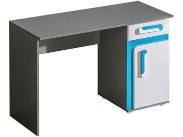 Jugendzimmer - Schreibtisch Oskar 09, Farbe: Anthrazit / Weiß / Blau - 80 x 120 x 50 cm (H x B x T)