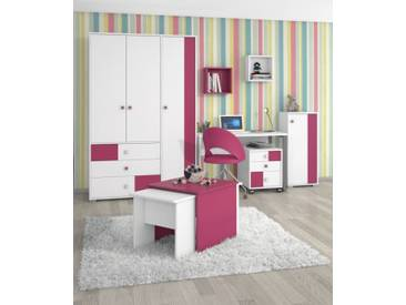 Kinderzimmer Komplett - Set C Lena, 5-teilig, Farbe: Weiß / Pink
