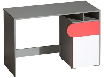Jugendzimmer - Schreibtisch Klemens 08, Farbe: Rosa / Weiß / Grau - Abmessungen: 78 x 120 x 53 cm (H x B x T)