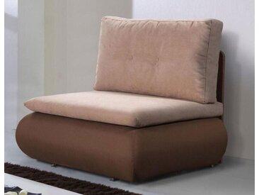 Sofasessel ausziehbar Maridi 227, Farbe: Braun / Beige - Abmessungen: 85 x 98 x 80 cm (H x B x T)