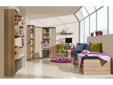 Jugendzimmer Komplett - Set C Marcel, 7-teilig, Farbe: Esche Rosa / Grau / Braun
