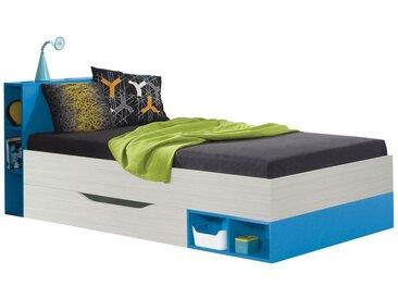 Kinderbett / Jugendbett Felipe 22, Blau / Weiß - Liegefläche: 90 x 200 cm
