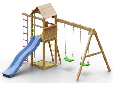 Spielturm K14 inkl. Wellenrutsche, Doppelschaukel, Sandkasten, Strickleiter, Kletterseil und Holzdach FSC®