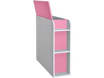 Kinderzimmer - Truhe Luis 03, Farbe: Eiche Weiß / Rosa - 92 x 30 x 103 cm (H x B x T)