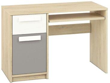 Jugendzimmer - Schreibtisch Greeley 14, Farbe: Buche / Weiß / Platingrau - Abmessungen: 78 x 119 x 55 cm (H x B x T), mit 1 Tür, 1 Schublade und 2 Fächern
