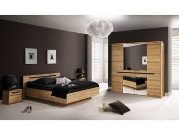 Schlafzimmer Komplett - Set B Kyme, 4-teilig, teilmassiv, Farbe: Wildeiche natur