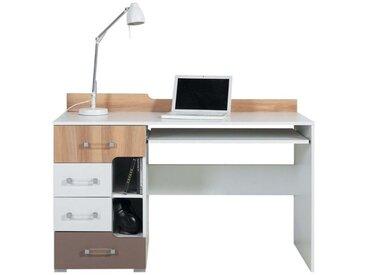 Jugendzimmer - Schreibtisch Lian 13, Hellbraun / Weiß / Cappuccino - Abmessungen: 85,50 x 130 x 55 cm (H x B x T)