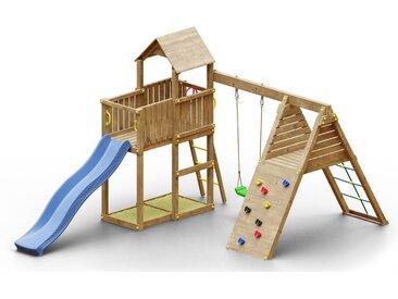 Spielturm K23 inkl. Wellenrutsche, Einzelschaukel, 2 Sandkästen, Terrasse, Klettergerüst und Holzdach FSC®