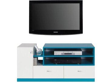 Jugendzimmer - TV-Unterschrank Geel 12, Weiß / Türkis - Abmessungen: 55 x 120 x 50 cm (H x B x T)