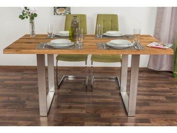 Esstisch Wooden Nature 414 Eiche massiv geölt, Tischplatte glatt - 160 x 90 cm (B x T)