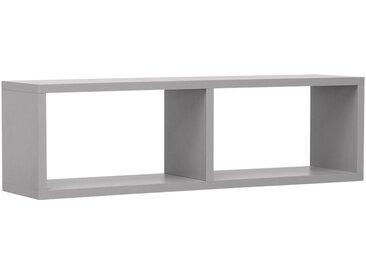Kinderzimmer - Hängeregal / Wandregal Luis 10, Farbe: Grau - 24 x 80 x 20 cm (H x B x T)