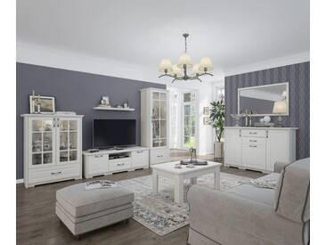 Wohnzimmermöbel Wohnzimmer Komplett   Set C Falefa, 7 Teilig, Farbe: Weiß