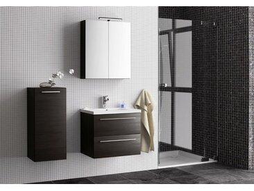 Badezimmermöbel - Set R Rajkot, 3-teilig inkl. Waschtisch / Waschbecken, Farbe: Eiche Schwarz