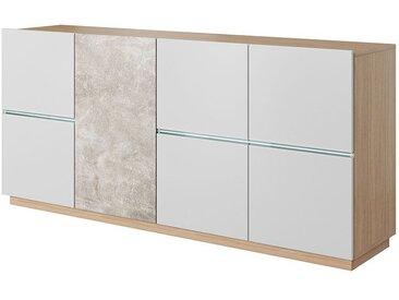 Kommode Jemmel 02, Farbe: Eiche / Weiß matt / Beige - 83 x 180 x 42 cm (H x B x T)