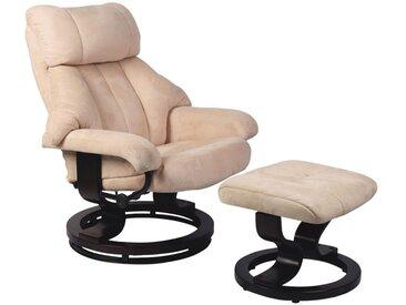 Relaxsessel mit Hocker Luanda 15, Farbe: Beige - Abmessungen: 102 x 79 x 76 cm (H x B x T)