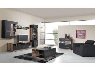 Wohnzimmer Komplett - Set D Tinlot, 5-teilig, Schwarz / Walnuss