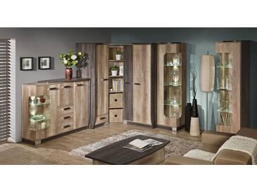 Wohnzimmer Komplett - Set C Sichling, 7-teilig, Farbe: Eiche Braun