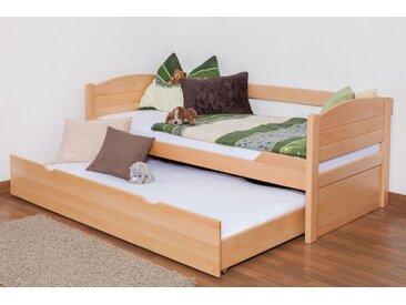 Einzelbett / Funktionsbett Easy Premium Line K1/s Voll inkl. 2. Liegeplatz und 2 Abdeckblenden, 90 x 200 cm Buche Vollholz massiv Natur