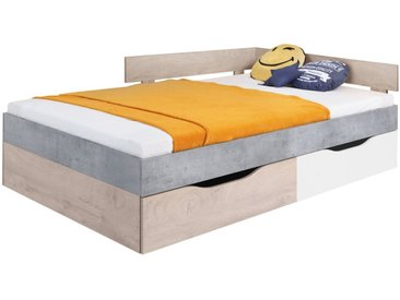 Kinderbett / Jugendbett Lede 16, Farbe: Grau / Eiche / Weiß - Liegefläche: 120 x 200 cm