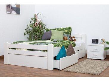 Einzelbett / Gästebett Easy Premium Line K4 inkl. 2 Schubladen und 1 Abdeckblende, 120 x 200 cm Buche Vollholz massiv weiß lackiert