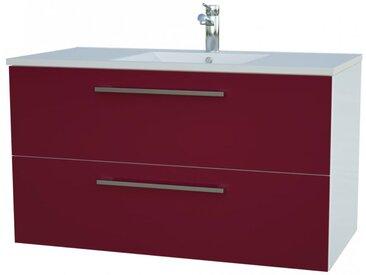 Waschtischunterschrank Bijapur 24, Farbe: Rot glänzend – 50 x 92 x 47 cm (H x B x T)