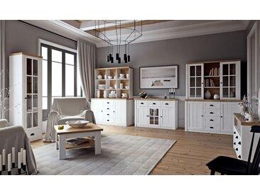 Wohnzimmer Komplett - Set A Segnas, 8-teilig, Farbe: Kiefer Weiß / Eiche Braun