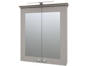 Badezimmer - Spiegelschrank Dindigul 08, Farbe: Grau – 73 x 64 x 17 cm (H x B x T)