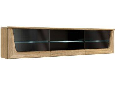 Hängeschrank Topusko 19, Farbe: Eiche / Schwarz, teilmassiv - Abmessungen: 42 x 182 x 36 cm (H x B x T)