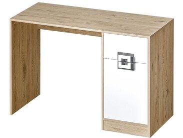 Kinderzimmer - Schreibtisch Fabian 10, Farbe: Eiche Hellbraun / Weiß / Grau - 78 x 120 x 50 cm (H x B x T)
