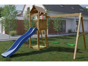 Spielturm / Kletterturm K14 inkl. Wellenrutsche, Doppelschaukel, Sandkasten, Strickleiter, Kletterseil und Holzdach FSC®