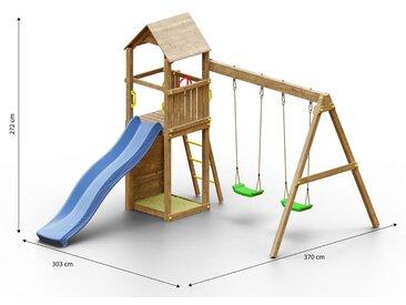 Kinderspielturm / Spielanlage inkl. Wellenrutsche, Kletterwand, Doppelschaukel, Sandkasten und Holzdach FSC®