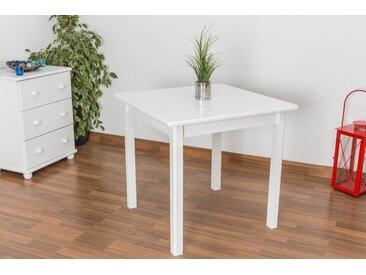 Tisch Kiefer massiv Vollholz weiß lackiert Junco 233C (eckig) - Abmessung 80 x 80 cm