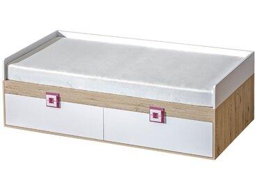 Kinderbett / Jugendbett Fabian 14 inkl. Lattenrost, Farbe: Eiche Hellbraun / Weiß / Rosa - 90 x 200 cm (L x B)