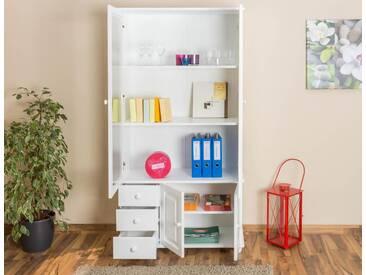 Vitrine Landhaus-Stil, Kiefer Massivholz, Farbe: Weiß