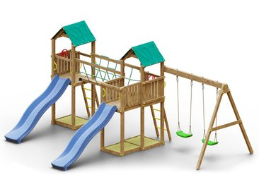 Spielturm K22 inkl. 2 Türme, 2 Wellenrutschen, Doppelschaukel, 3 Sandkästen, Terrasse und Seilbrücke FSC®